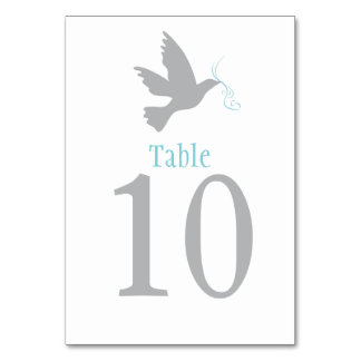 Grey dove bird wedding or occassion table number table card