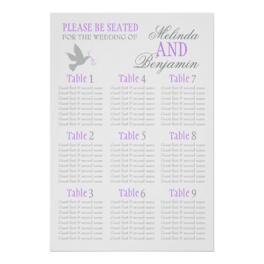 Grey dove purple wedding seating table planner 1-9