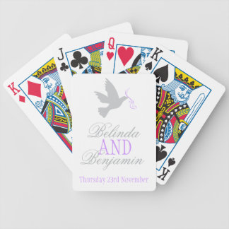 Grey dove with purple wedding name playing cards