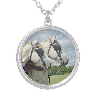 Grey draft horses round pendant necklace