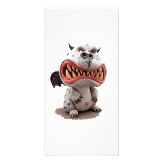 Grey Dragon with angry open mouth grin Photo Card
