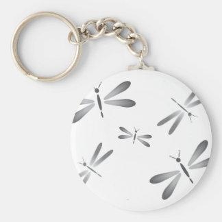 Grey dragonflies basic round button key ring