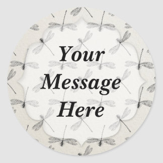 Grey Dragonfly Pattern Classic Round Sticker