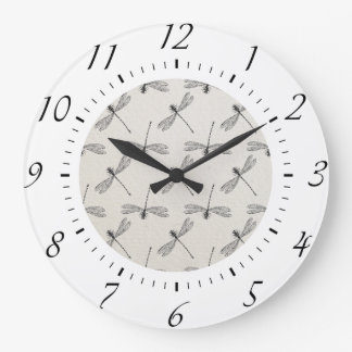 Grey Dragonfly Pattern Large Clock