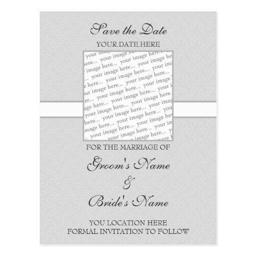 Grey Eggshell Save the Date Postcard