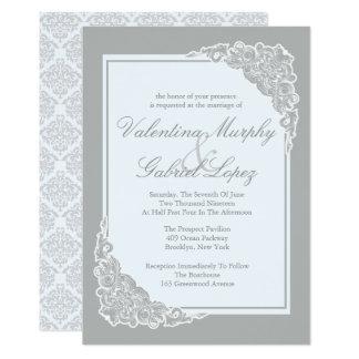 Grey Elegance, Victorian Wedding Invitations