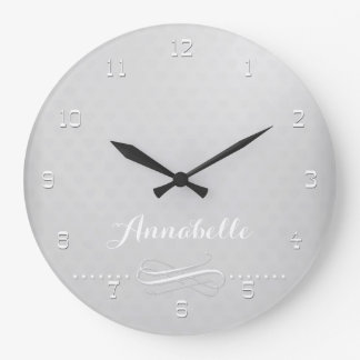 Grey elegance with your text large clock