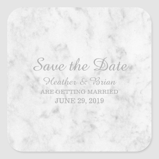 Grey Elegant Marble Save the Date Square Sticker