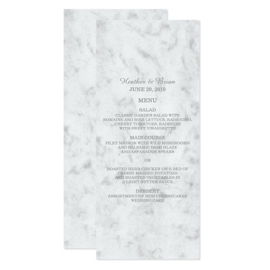 Grey Elegant Marble Wedding Menu Card