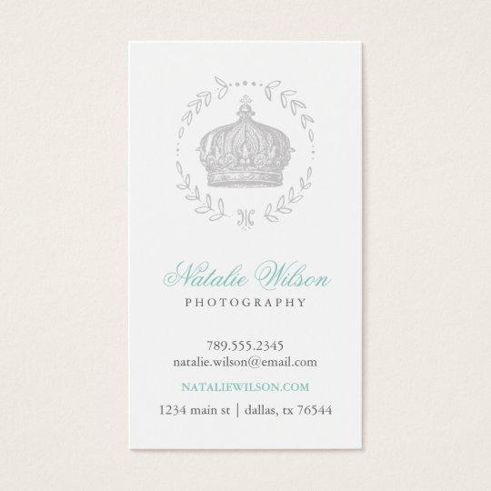 Grey Elegant Vintage Crown Vertical Business Card