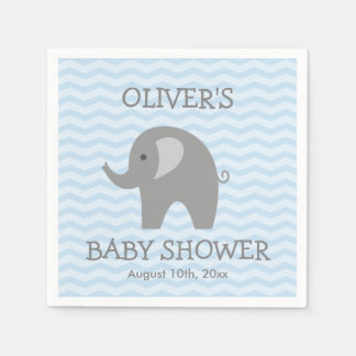 Grey elephant and blue chevron baby shower napkins disposable serviette