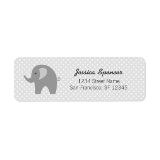 Grey elephant baby shower return address labels
