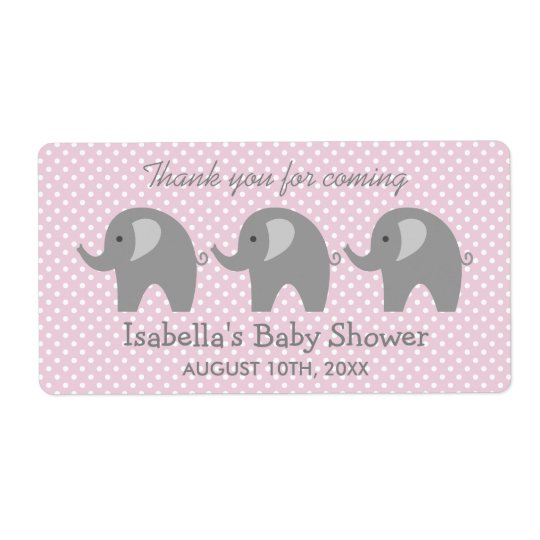 Grey elephant baby shower water bottle stickers