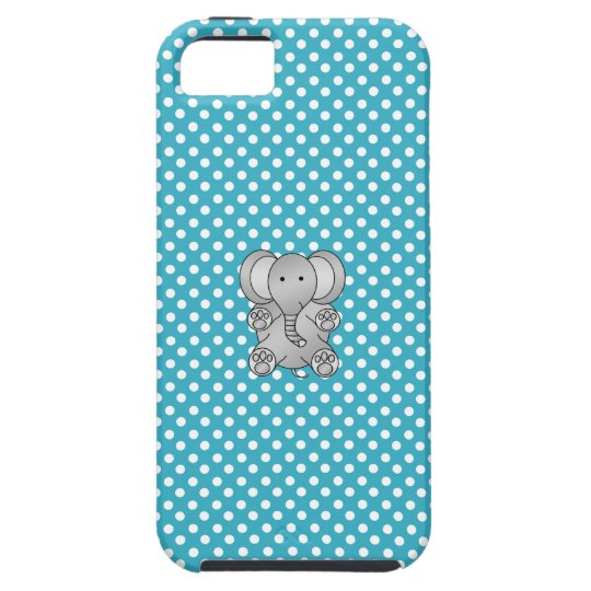 Grey elephant blue and white polka dots iPhone 5 covers