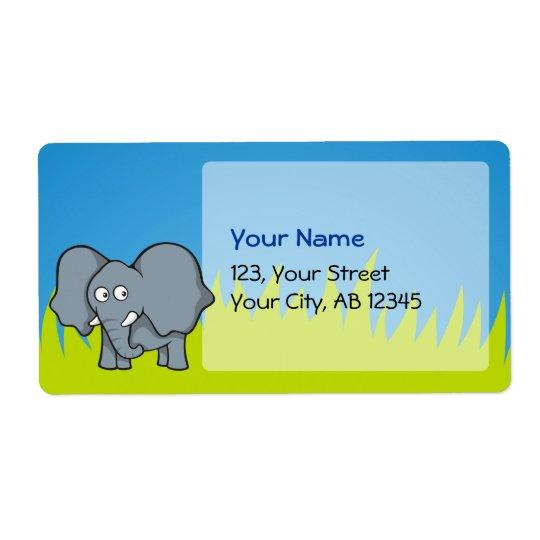 Grey elephant cartoon shipping label