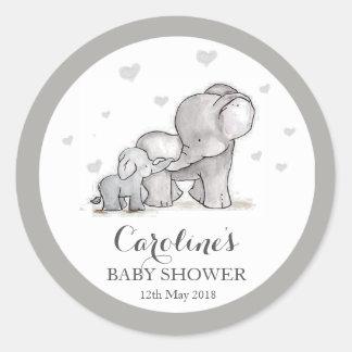 Grey Elephant Love Blue Baby Shower Sticker Round Sticker