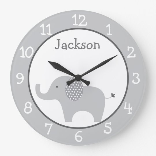 Grey Elephant Nursery Large Clock