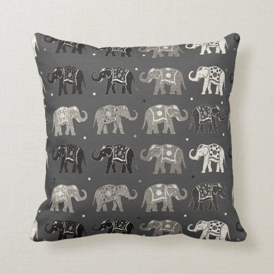 Grey Elephant Pattern Linen Look Pillow