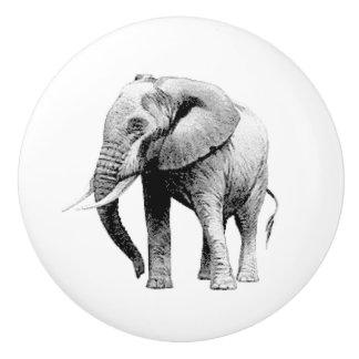 Grey Elephant realistic graphic Ceramic Knob