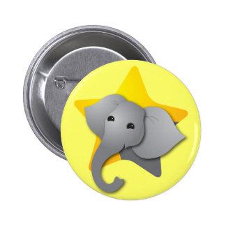 Grey elephant surprise! star 6 cm round badge