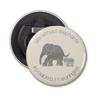 Grey Elephant with Baby Inspirational Funny Slogan Bottle Opener
