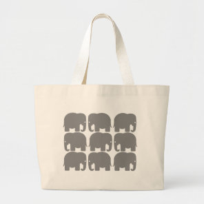 Grey Elephants Silhouette Large Tote Bag