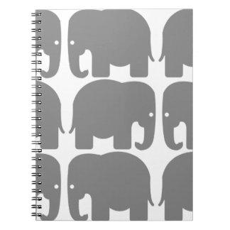 Grey Elephants Silhouette Notebook