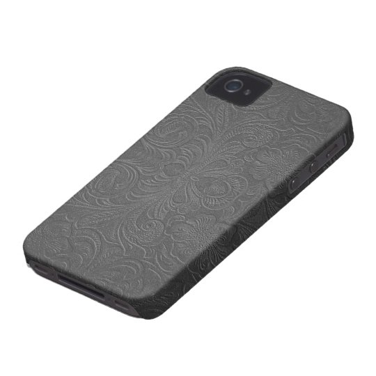 Grey Embossed Floral Design Suede Leather Look Case-Mate