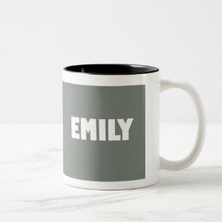 Grey Emily name Two-Tone Coffee Mug