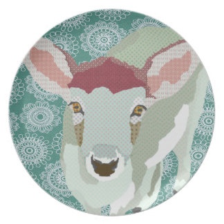 Grey Fawn Art Green Plate