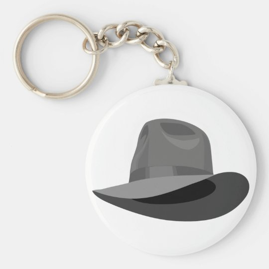 Grey Fedora narrow ribbon Basic Round Button Key Ring