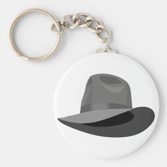 Grey Fedora narrow ribbon Key Ring