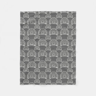 Grey Figaro Monoline silhouette fleece blanket