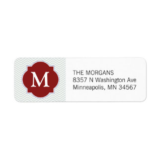Grey & Firebrick 4 Modern Chevron Custom Monogram Return Address Label