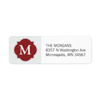 Grey & Firebrick 5 Modern Chevron Custom Monogram Return Address Label
