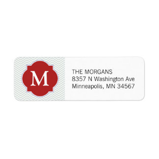 Grey & Firebrick Modern Chevron Custom Monogram Return Address Label