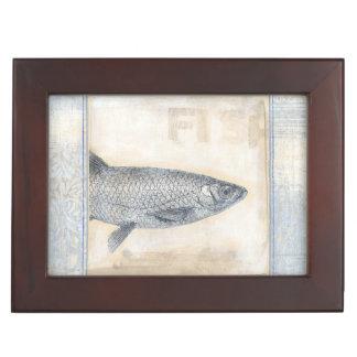 Grey Fish on Beige Background Keepsake Box