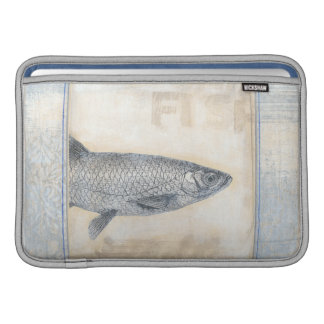 Grey Fish on Beige Background MacBook Sleeve