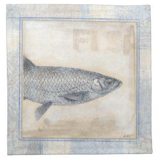 Grey Fish on Beige Background Napkin