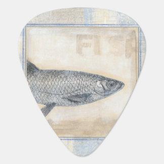 Grey Fish on Beige Background Plectrum