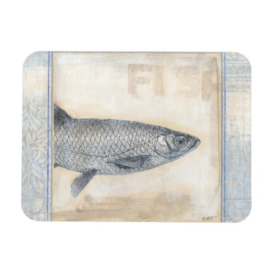 Grey Fish on Beige Background Rectangular Photo Magnet