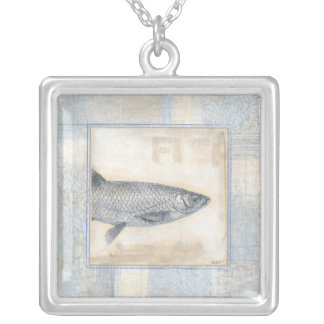 Grey Fish on Beige Background Silver Plated Necklace