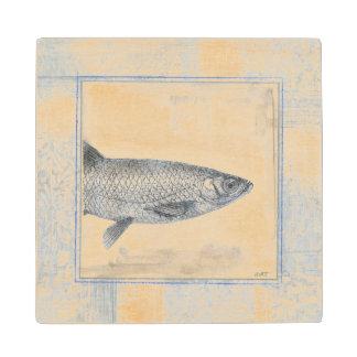 Grey Fish on Beige Background Wood Coaster