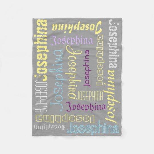 Grey Fleece Blanket Name Collage Lavender Yellow