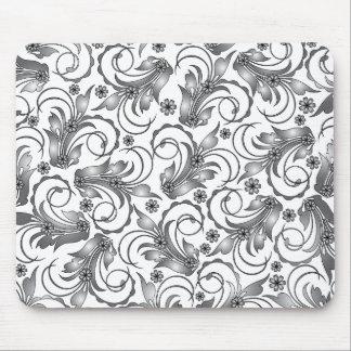 grey floral design mouse mats
