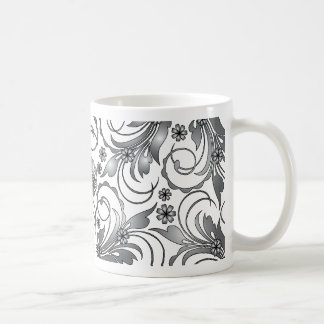 grey floral design mug