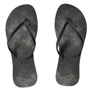 Grey Floral Paisley Pattern Fades To Black Flip Flops