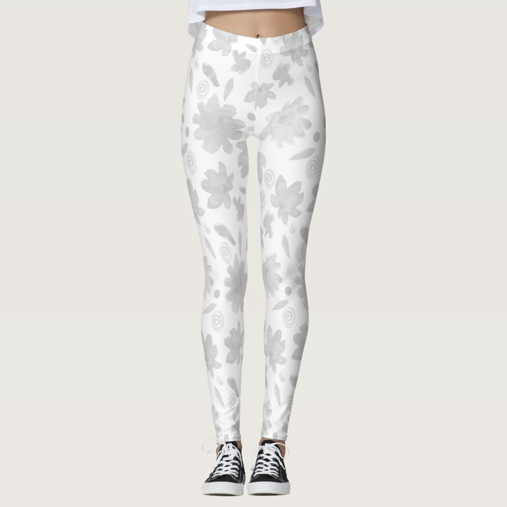 Grey floral pattern leggings