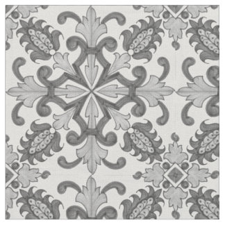 Grey Floral Victorian Fabric