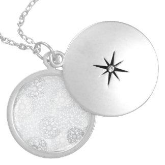 Grey Flower Burst Design Round Locket Necklace